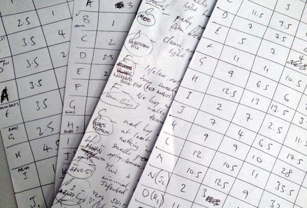 Blind-tasting-scorecards